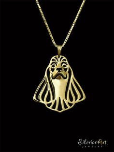American Cocker Spaniel jewelry - gold vermeil (18k gold plated sterling silver) pendant and necklace