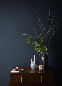 Styling by Hannah Cork. Shot by Jon Aaron Green. Dark and moody interior with blush pink and brass accents. Aaron Green www. Interior Stylist, Blush Pink, Cork, Vase, Colours, Instagram Posts, Wardrobes, Painting, Bedroom Ideas
