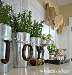 "Great idea for my kitchen window during the winter, love rosemary too!  .Galvanized ""JOY"""