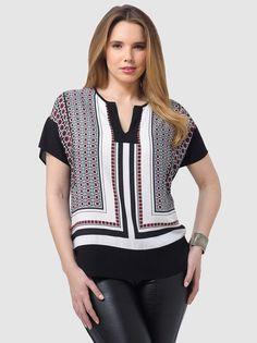 #Plus_Size #Fashion from Gwynnie Bee by Karen Kane Kimono Style Scarf Print Top…
