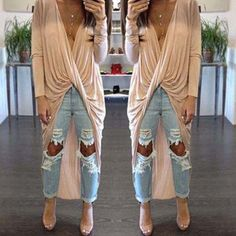 $14.67 Sexy Plunging Neck Curly Wrapped Solid Color Irregular Blouse For Women