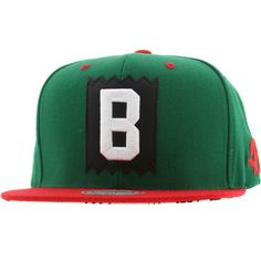 BAIT x Mitchell And Ness B Box Logo Snapback Cap (green / red) NQ37Z-790 - $25.99