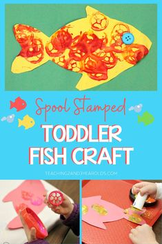 Put together toddler ocean fish art that gives them a chance to do lots of stamping with paint - because that's what they love to do! Find some empty thread spools and invite your young children to dip them into paint and stamp, stamp, stamp on fish-shaped paper. Free fish printable template included. #ocean #fish #beach #art #paint #toddler #finemotor #AGE2 #teaching2and3yearolds Ocean Activities, Toddler Activities, Toddler Art, Toddler Crafts, Ocean Animal Crafts, Fish Template, Time Planner, Fish Crafts, Teaching Art