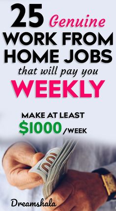 25 genuine work from home jobs that will pay you weekly. 25 genuine work from home jobs that will pay you weekly. The post 25 genuine work from home jobs that will pay you weekly. Earn Money From Home, Make Money Fast, Earn Money Online, Legit Work From Home, Work From Home Jobs, Legit Online Jobs, Online Work, Jobs For Teens, Entrepreneur