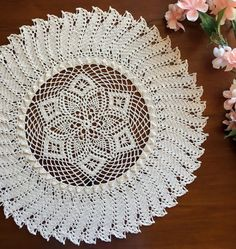 Crochet doily natural colored pineapple lace doilie 15 by Draiguna