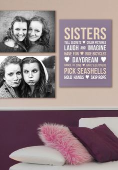 A perfect wall display for sisters who share a room. Selecting a common theme for your canvas wall art is a great way to create a wall display and to make selections easy. Check it out via GreatBIGCanvas.com.