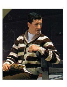 Men s Striped 60s Retro Cardigan Knitting Pattern by YarnSkippy Vintage  Knitting 46e4bf7cd