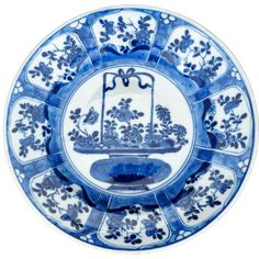 Chinese blue and white porcelain plate with flower basket design 19th century