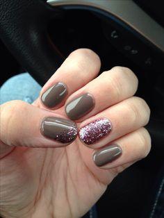 "Christy C's nails | CND Shellac Rubble + Gelish ""sweet sixteen"" glitter. Shellac nail designs. Shellac nails. Gel nails"