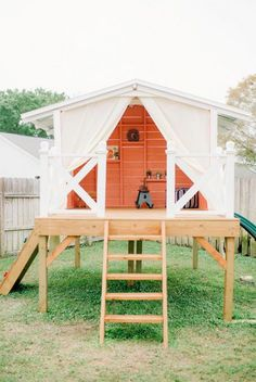 Pimped Out Playhouses Your Kids Need In The Backyard. Amazing DIY Backyard Playhouses And Treehouses. Best + Backyard Playhouse Ideas On Kids Clubhouse. Cozy Backyard, Backyard Playhouse, Build A Playhouse, Backyard Playground, Backyard For Kids, Playhouse Ideas, Backyard Ideas, Outdoor Playhouses, Simple Playhouse