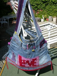 Love Hippie Hobo Denim Bag   Disc by recycleinstead on Etsy