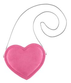 Pink faux suede heart bag