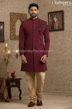 Buy Men's Sherwani-Latest Pakistani Sherwani Style for Groom Online-Men's Wear With Zari, Embroidery, Patch Work In USA, UK, Canada, Australia Visit Now : www.NameerabyFarooq.com or Call / Whatsapp : +1 732-910-5427 Work In Usa, Mens Sherwani, Gold Fabric, Churidar, Cotton Silk, Traditional Outfits, Dress Making, Party Wear, Pakistani