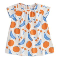 A pretty style that showcases our prints and flows softly and comfortably, Winter Water Factory's Azalea Dress. Covered in blue and orange fruit with cap sleeves in comfy cotton! Baby Leggings, Baby Pants, Pretty Dresses, Blue Dresses, Baby Clothes Patterns, Fruit Print, Baby Design, Simple Outfits, Blue Orange