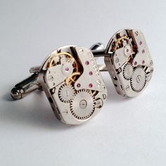 Men's Watch Clock Vintage Movement Cuff Links, New Silver Timepiece Cuff Links #Handmade
