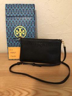 72c2b0781ba9c6 Tory Burch Leather McGraw Top Zip Cross-Body Handbag Clutch Black.  Fiyahwurkz Empire Inc