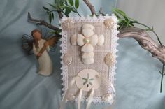 For the beach wedding....Shell Cross and Burlap ring holder for the by CarmelasCoastalCraft, $25.00  #beach wedding #ring holder #shell ring holder