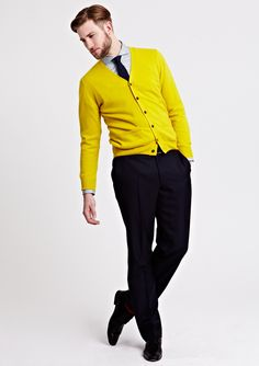 AW13 Men Knitwear PH1 HaffendenCardigan Yellow 032 Bright Colors for Thomas Pink Autumn/Winter 2013 Collection