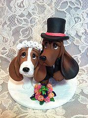 Polymer Clay Cake Topper wedding hound dogs