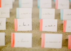 #watercolor striped seating cards photography by jillianmitchell.net  Read more - http://www.stylemepretty.com/2013/09/30/sayulita-mexico-wedding-from-jillian-mitchell/