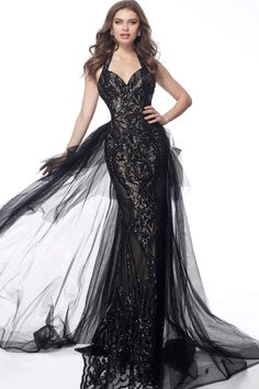 Jovani - 62635 Sequined Halter Strap With Sheer Overskirt Gold Bridesmaid Dresses, Gothic Wedding, Horse Hair, Nude Color, Wearing Black, Ball Gowns, Bodice, Cocktail, Sequins