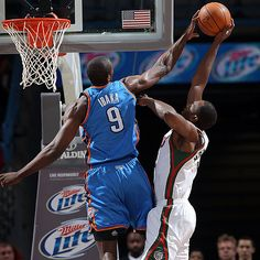 new style 464bd a4e32 Serge Ibaka gets one of his five blocks on the night in the Thunders win  over