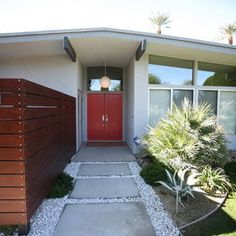 Mid Century Exterior  - White with gray trim and red front door