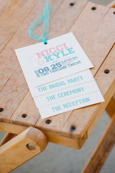 Tiered Wedding Program Pink and Tiffany Blue by PaperStreetPress, $36.00....not the colors but love the style!