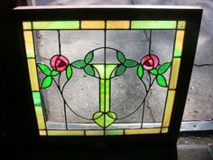 """Pair Antique Chicago Bungalow Stained Leaded Glass Windows with Roses on Vine. These windows are from a Chicago home has was built in the 1920's. Each window measures 24 1/2"""" wide 22 3/4"""" tall and the glass only is  21 3/4"""" wide by 19 3/4"""""""