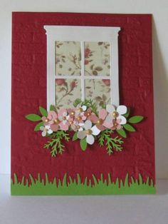 Keywords: WT380 Memory Box window Madison Window,   Paper: white, pink, RED, green, dp scrap   Accessories: punches, cb, die, EF,, dimensionals