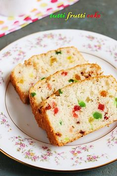 Eggless tutti frutti cake with step by step recipes, learn how to make basic eggless vanilla cake recipe with tutti frutti,with this easy recipe! Eggless Vanilla Cake Recipe, Eggless Desserts, Eggless Recipes, Eggless Baking, Baking Recipes, Egg Desserts, Brownie Recipes, Cake Recipes, Milk Recipes