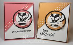 Skunk Birthday and Miss you cards Peeakaboo Peach and Flirty Flamingo with Fox Builder punch Video Dawn Griffith Stampin Up Demonstrator Foxy Friends Punch, Dawn Griffith, Dawns Stamping Thoughts, Miss You Cards, Hand Stamped Cards, Punch Art, Owl Punch, Animal Cards, Cards For Friends