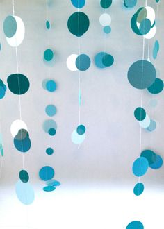 Mermaid Party Decorations Blue Paper Garland by BadKittySweatshop, $6.50