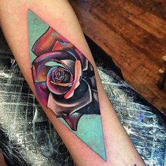 Psychedelic style rhombus rose on the forearm. Tattoo artist: Andrew Marsh · Little Andy
