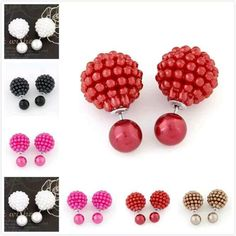 2016 chaude de mode perle boucles d'oreilles femme de luxe double analogique bayberry boule boucles d'oreilles perles boucles d'oreilles déclaré comme accessoires de femmes