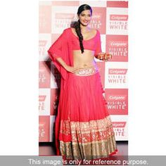 Sonam Kapoor pink bollywood lehenga in georgette fabric beautified with embroidery and border work.