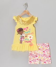Take a look at this Light Yellow Sequin 'Have Cuddles' Tee & Shorts - Toddler & Girls by Doc McStuffins on #zulily today!