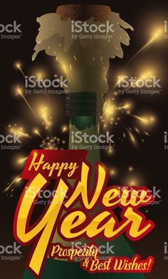 poster with a firework display golden and glossy greeting and a