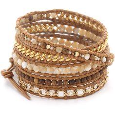 Chan Luu Beaded Wrap Bracelet (595 BRL) ❤ liked on Polyvore featuring jewelry, bracelets, accessories, pulseira, pulseras, wood bead jewelry, wooden beads jewellery, beaded wrap bracelet, wooden bangles and beads jewellery