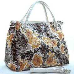 Dasein leopard floral printed satchel