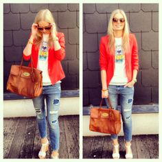 Your Outfit Today » Summer outfit : Red blazer and Kenzo t-shirt, May 22 2013. www.youroutfittoday.com