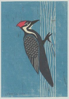 Pileated WOODPECKER 5 X 7 linocut reproduction block print