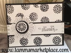 """Say """"Thanks"""" in Black and White with this stamped homemade card. Many stamped flowers are on the front and inside and a flower is raised on the front with 7 jewels, adding some bling. A ribbon runs Cool Cards, Diy Cards, Stamping Up Cards, Rubber Stamping, Sympathy Cards, Paper Cards, Flower Cards, Creative Cards, Greeting Cards Handmade"""
