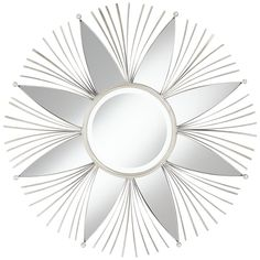 "Elsa Silver Metal 40"" Round Sunburst Star Wall Mirror - Style # 23V34 Large Round Wall Mirror, Round Hanging Mirror, Circular Mirror, Round Mirrors, Sunburst Mirror, Mirror Mirror, Star Wall, Star Shape, Silver Metal"