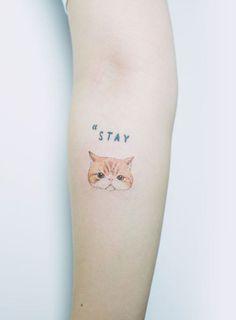 Made by Sol Art Tattoo Artists in Seoul, Korea Region Hip Tattoo Small, Small Tattoo Placement, Small Shoulder Tattoos, Small Tats, Small Wrist Tattoos, Cat Paw Tattoos, Cute Cat Tattoo, Star Tattoos, Tattoo Cat