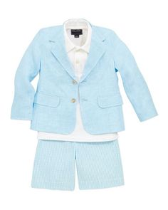 Boys\' Linen Blazer, Pique Polo & Seersucker Shorts by Oscar de la Renta at Neiman Marcus.