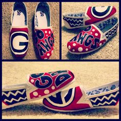 Custom painted Georgia Bulldogs shoes         I would never  wear these but they're oh so adorable!