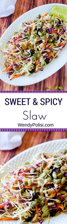 Sweet & Spicy Slaw - A Healthier Twist on a Classic!  Vegan, Mayo Free, and Gluten Free - WendyPolisi.com