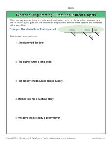 Diagramming sentences worksheets conjunctions sentences and diagramming sentences worksheets direct and indirect objects ccuart Choice Image