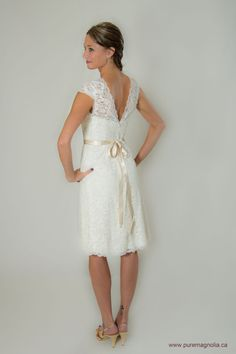 Lace Short Wedding Dress Cap Sleeves Low by PureMagnoliaCouture, $1300.00